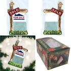 "Ornament Christmas Molten Glass Blown Realty Sign Real Estate 4"" x 2.25"" x 0.75"""