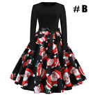 UK Stock Womens Vintage Christmas Swing Ladies Long Sleeve Party Skater Dress <br/> Merry Christmas/Fashion&amp;Chic/Top Quliaty
