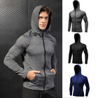 Men's Workout Hoodie Long Sleeve Gym Running Cycling Full Zip Pouch Pocket Tops