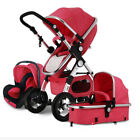 3 in 1 Baby Stroller High View Pram Foldable Pushchair Bassinet Car Seat Outdoor