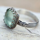 Uk Women Lady Silver Mint Green Crystal Diamond Fashion Boho Gift Ring Jewelry