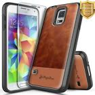 Samsung Galaxy S5 Case | NageBee® Leather Shockproof Cover + Tempered Glass
