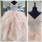 Stunning Beading Ball Gown Prom Dresses Ruffles Sweet 16 Quinceanera Gowns