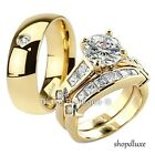 HIS HERS 3 PIECE MEN'S WOMEN'S 14K GOLD PLATED WEDDING ENGAGEMENT RING BAND SET