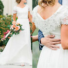 Lace Beaded Boho Beach Wedding Dresses Short Sleeve Bohemian A-Line Bridal Gowns