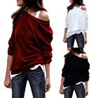 Women Long Sleeve T-Shirt Sexy Off Shoulder Cotton Blouse Casual  Loose Pullover