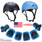 Boys Girls Kids Safety Helmet & Knee & Elbow Pad Set For Cycling Skate Bike
