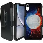 For Apple iPhone XR, Rugged Holster Case with Kickstand Shockproof Dual Layer