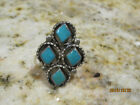 VINTAGE NATIVE AMERICAN  STERLING SILVER SIGNED JIMMIE ETSATE TURQUOISE RING