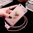 Luxury Bling Diamond Crystal Ring Holder stand Soft Case Cover & neck strap #I