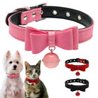 Bow Tie Dog Collar Suede Leather Small Dog Collars for Puppy Cats With Bell