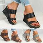 Ladies Women Mid Wedge Slip On Comfort Summer Casual Leather Sandal Shoes Heels