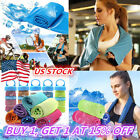 New Instant Cooling Towel Reusable Chill Cool Sport Running Gym Towel+Bottle US image