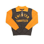 BOB DONG Twisted Throttles Motorcycle 1/2 zip Stripes Sweater Jacket Pullover