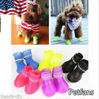 New 4PCS Waterproof Dog Foot Protective Rubber Pet  Shoes Boot Booties GIFT