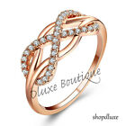 WOMEN'S ROSE GOLD IP STERLING SILVER CZ INFINITY KNOT LOVE FASHION PROMISE RING