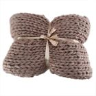 Wool Chunky Knitted Thick Blanket Yarn Bulky Knit Throw Sofa Blanket 3 Sizes