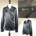 Diego Reiga Black Glossy Blouse Satin Tuxedo Top Shirt Evening Party UK 16 (D2)