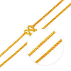 Solid 17.3INCH 24K Yellow Gold Necklace 1.1mm Wheat Link Chain Hallmark on Clasp