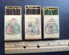 3 Beautiful Victorian Fashion decorated Wooden Match Boxes Made in Sweden