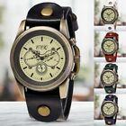 CCQ Men Women's Retro Bronze Dial Wrist Watch Leather Strap Quartz Wristwatch