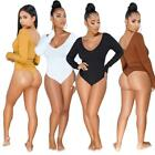 Bodysuits Women Rib Full Sleeve Knitted V-Neck Jumpsuits Rompers