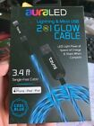 BRAND NEW IN BOX  iPhone & Micro USB 2 In 1 GLOW Cable Charger Cool