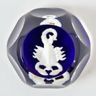 Baccarrat Glass Paperweight White Scorpio Scorpion Signed Dark Cobalt Blue 3""