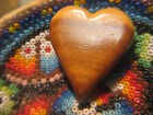 1943 Japanese Internment Camp Poston Hand Carved Wooden Heart Brooch