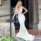 Womens Lace Bodycon Maxi Dress Formal Wedding Party Evening Bridesmaid Prom Gown