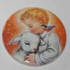 JESUS WITH LAMB AND BIRD CHRISTMAS MAGNET or PIN BUTTON Vintage Holiday Art Byj