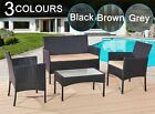 Rattan Garden Furniture Set 4 Piece Chairs Sofa Table Outdoor