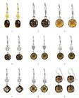 925 Sterling Silver Brown Smoky Quartz Dangle Style Earrings French Hook #1