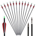 12PCS Archery Carbon Arrows Or 100grain 3blade Broadhead Target Practice Hunting