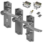 Satin Chrome Door Lever Handle Fire Rated Set Mortice Latch Lock Bathroom