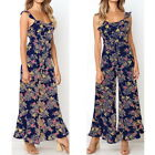 Woman Casual Floral Print Pants Ruffled Strap Wide Leg Jumpsuit Rompers Trousers