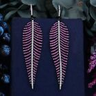 Women's Wedding Party Earring 99mm Feather Leaf Cubic Zirconia Fashion Jewelry