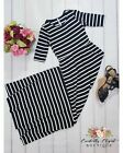Night Out Black and Ivory Stripe Fitted Maxi Dress