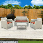 Outdoor Patio Garden Furniture Sofa Set Gray White Single Sofa/ Coffee Table Us
