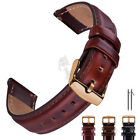 18 20 22mm ROSE GOLD BUCKLE Leather Watch Band For Fossil Q Smart Watch Strap