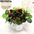 Artificial Strawberry Paddle Green Plant Fake Fruit Garden Home Party Decoration
