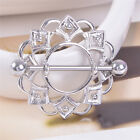 Surgical Steel Flower Bar Barbell Shield Nipple Ring Body Piercing Jewelry JH