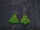 Fantastic home made christmas tree earrings with naive decoration approx 1½ ins