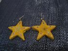 Fantastic five pointed star earrings with naive decoration approx 2 ins wide