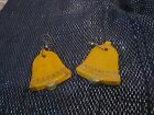 Wonderful naive wooden bells yellow earrings Christmas style approx 1¾ ins long