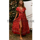 UK Women Wrap Summer Boho Floral Paisley Maxi Print Dress Ladies Holiday Beach <br/> =UK SAME DAY DISPATCH=UK NEXT DAY DELIVERY AVAILABLE=