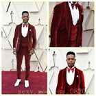 Red Velvet Slim Fit Groom Tuxedos Double Breasted Vest Prom Party Men Suit