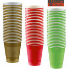 18 oz Party Cups, 96 Count - Gold, Red, Lime Green - 32 Each Color