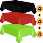 12 Plastic Tablecloths - Black, Red, Lime Green - Premium Thickness Disposable