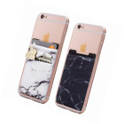 (Two) Stretchy Marble Cell Phone Stick On Wallet Card Holder Pocket for iPhone,